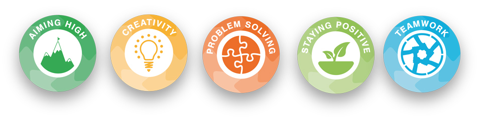 skillsbuilder logos for aiming high, creativity, problem solving, staying positive, teamwork