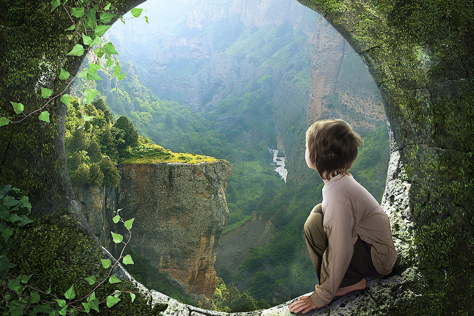 fantasy drawing child on a sill looking out at amazing natural world