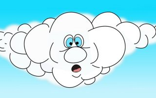 Graphic of a surprised cloud