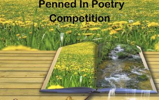 Penned in Poetry Competition. Image shows a spring field, with an open book with a fantasy of a stream spilling over the edge of the book