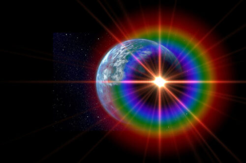 The earth with a spectrum around it