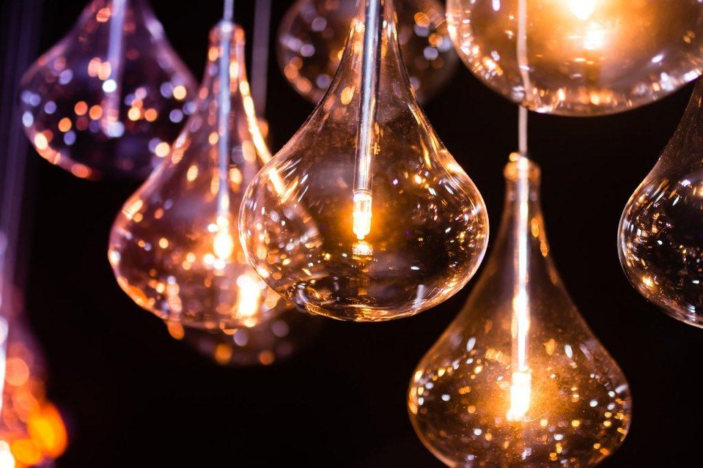 Pendular Light bulbs hanging aglow