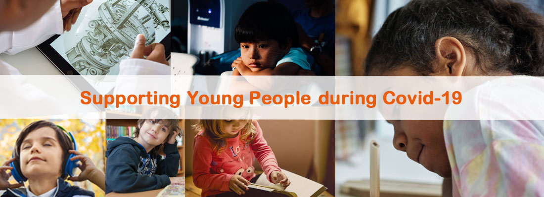 Supporting young people during Covid-19 - words above a mixture of different photos of children