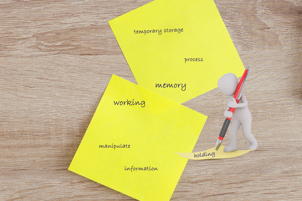 Little white figure writing with an overlarge pen on post-it notes words like working, memory, information, process