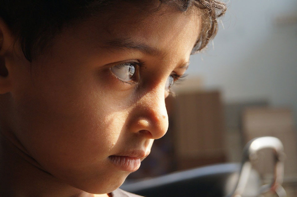 Young child staring
