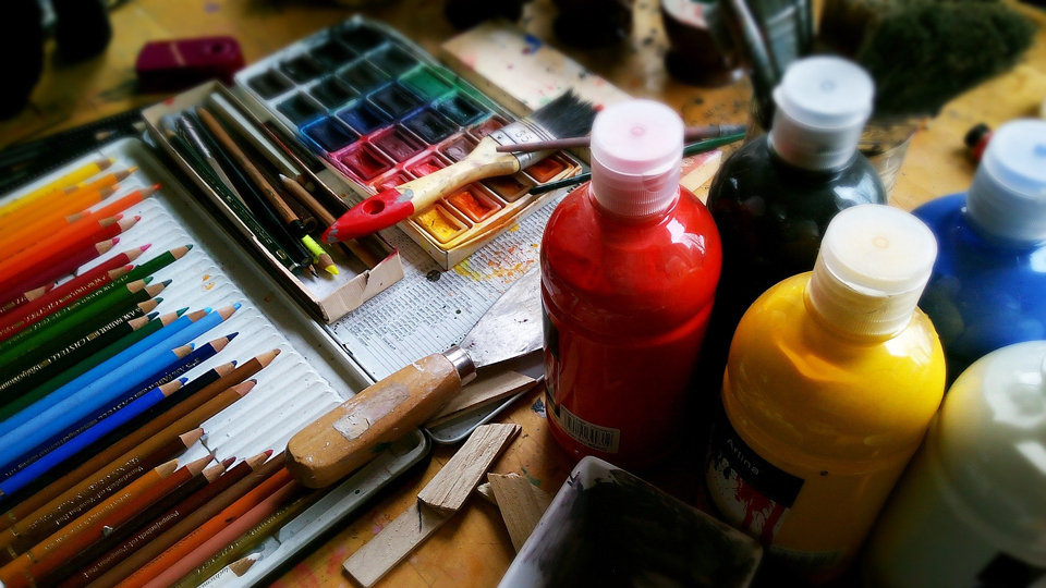 Photo of a table full of art materials