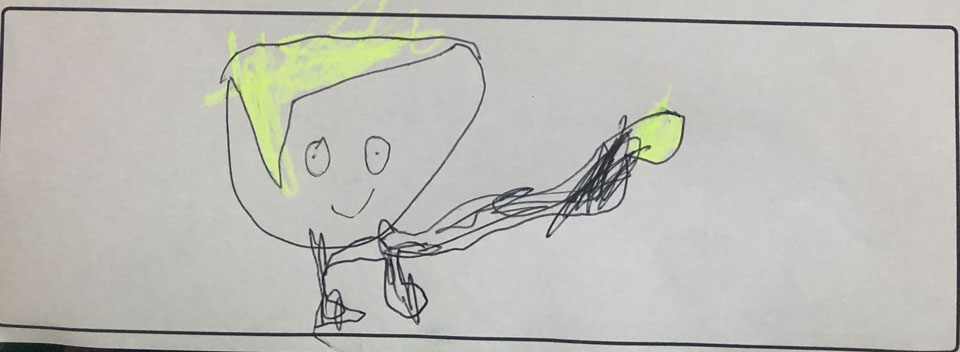 drawing of the Accidental Secret Agent by Nico S. aged 6