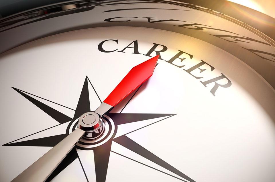 Compass facing towards the word Career