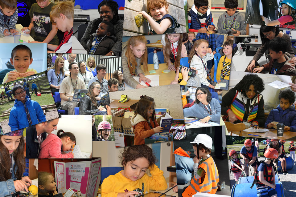 Photomontage of children and adults taking part in events with Potential Plus UK