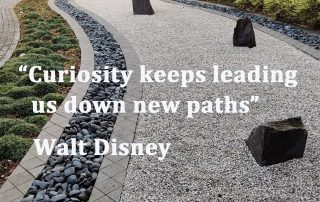 Path with words Curiosity Keeps Leading us down New Paths