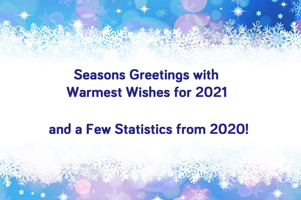 A wintry graphic with the words Seasons Greetings with Warmest Wishes for 2021 and a Few Statistics from 2020!