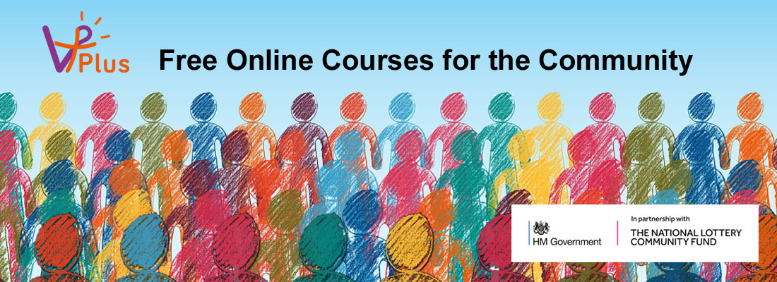 vPlus Free online courses for the community - coloured pencil drawing of people