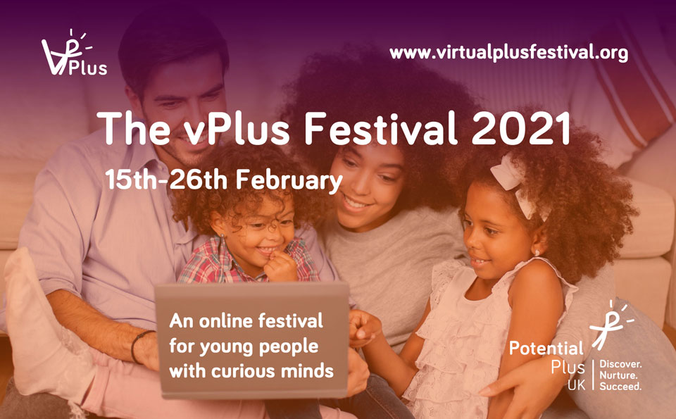 vPlus Festival Title Page with family on sofa looking at laptop