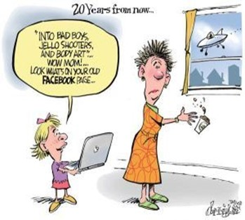 Cartoon with child listing things their parent got up to as a teenager