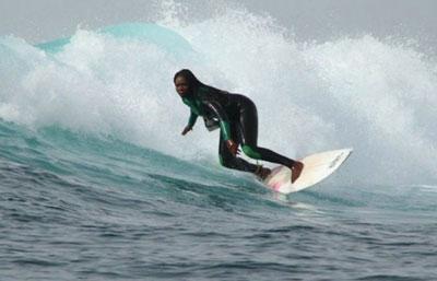 teenager surfing