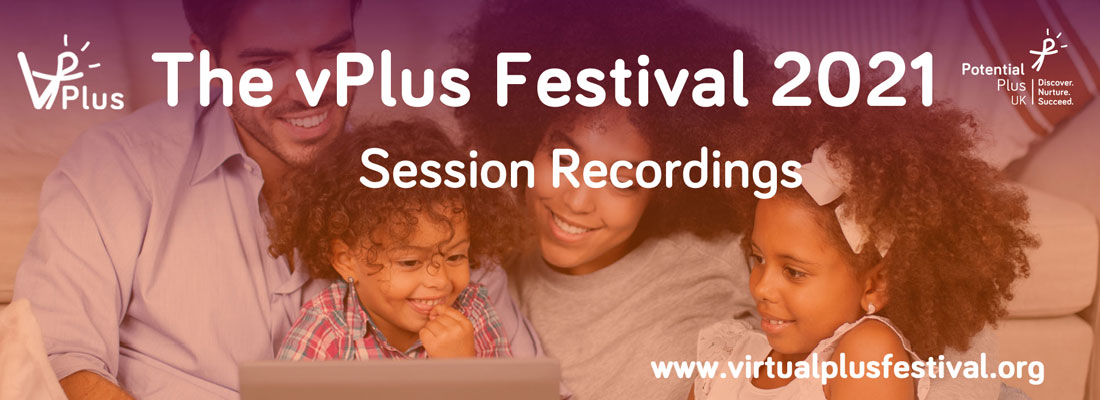 vPlus Festival Banner Session Recordings, family sitting on a sofa looking at a laptop