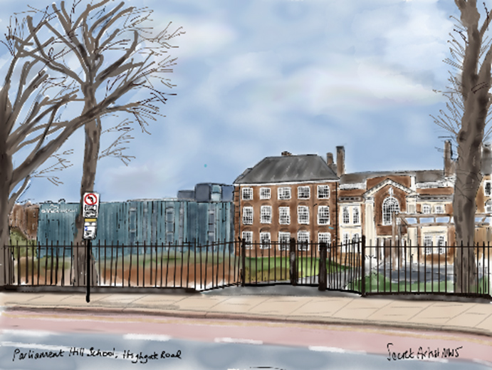Painting of Parliament Hill School, Camden