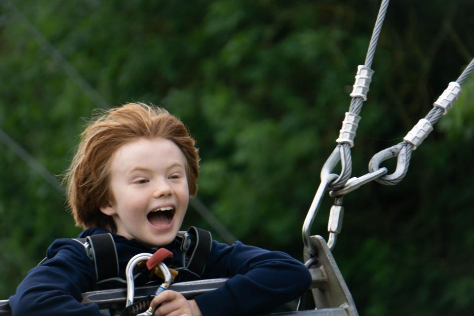 Happy boy on an outdoor adventure swing
