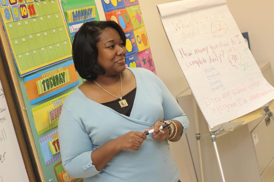 Teacher standing at front of class