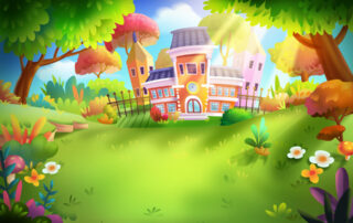 Illustration - fantasy school in the forest