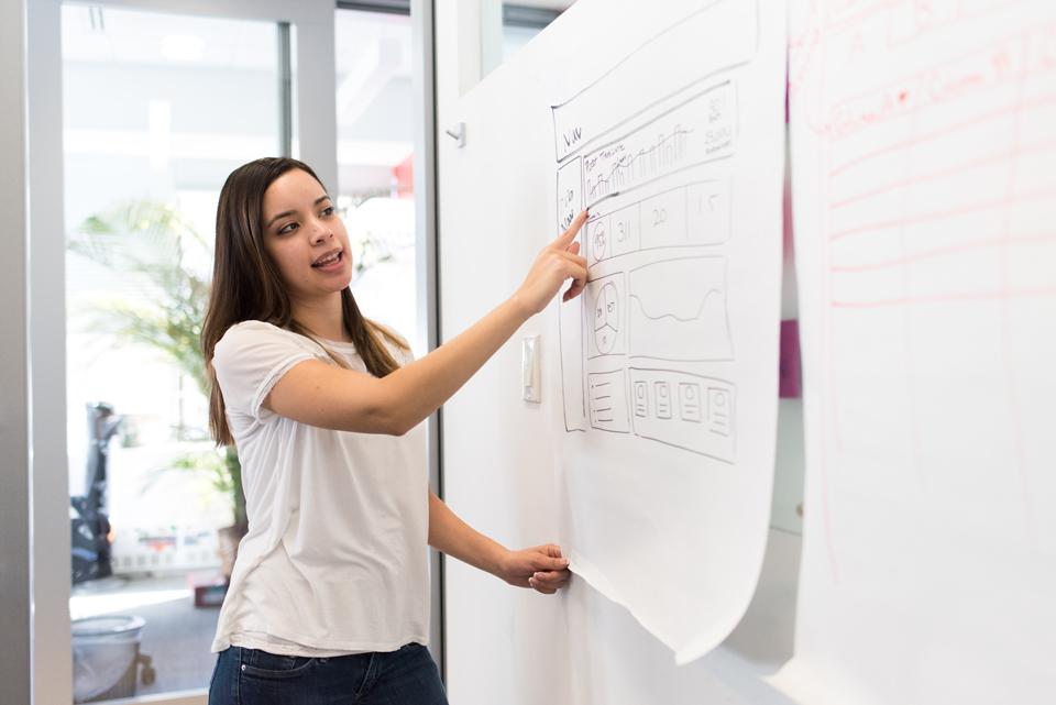 Teacher standing at a whiteboard