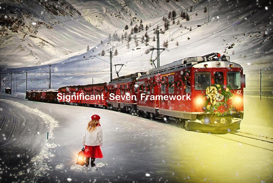 train in snow decorated for christmas